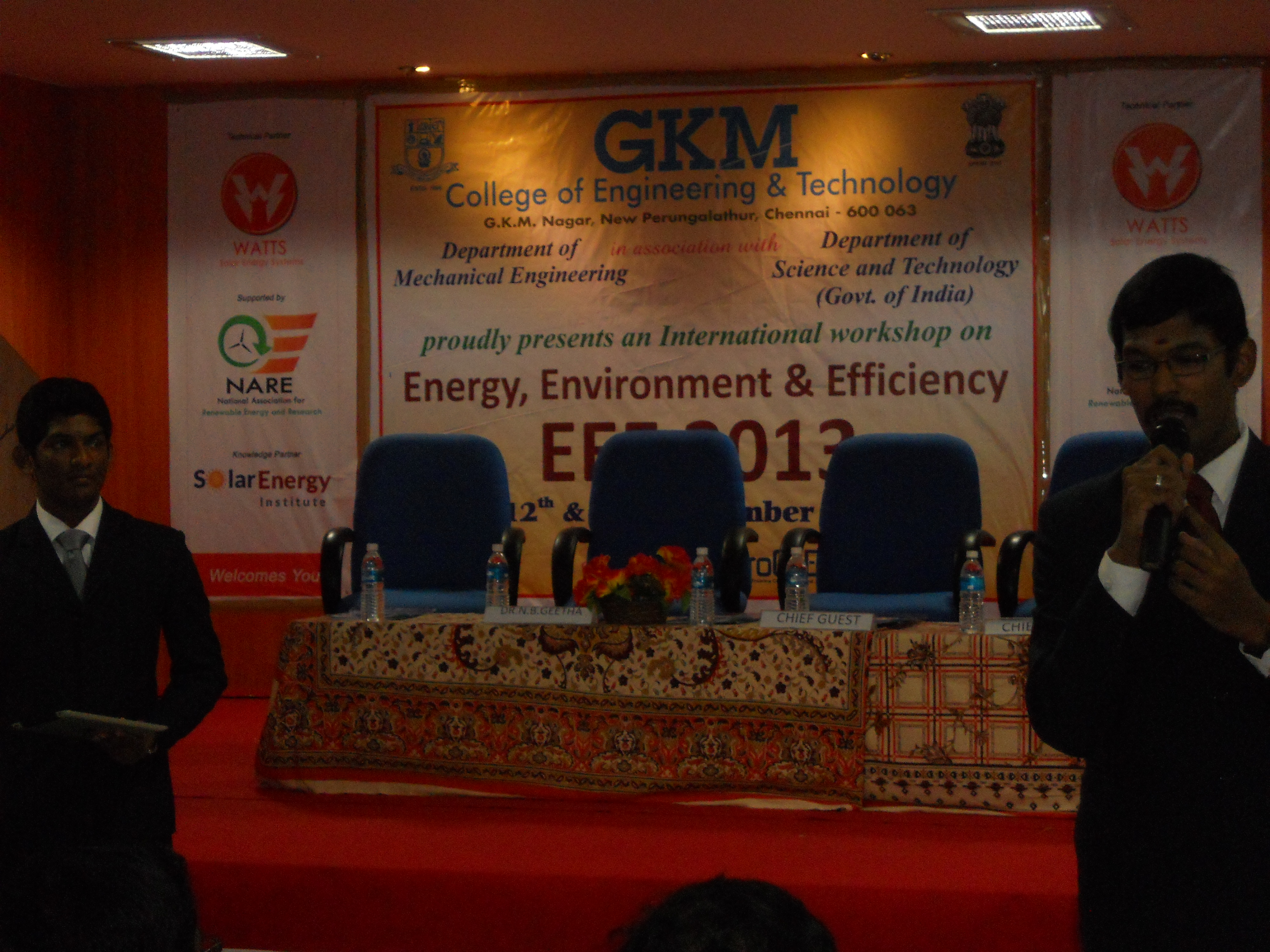 Solar Energy Insitute, supported International Workshop on Energy, Environment and Efficiency held at GKM college, Perungalathur.